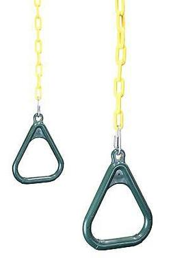 Trapeze Gym Rings with Chains - Plastic Coated Chains & Lock