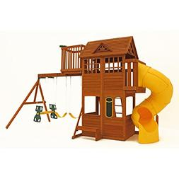 New Large Wood Playground Clubhouse Swing Set Tube Slide Ced