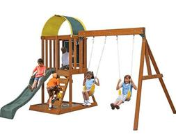 KidKraft Wood Swing Set.Slide,2 swings.Sand box,Canopy,Climb