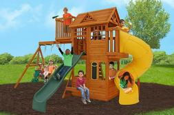 Wooden Cedar Playground Play 13 Kid Swing Set Twist Slide Fo