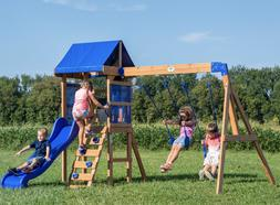 Wooden Cedar Swing & Slide Set Kids Fun Play Exercise 6ft Wa