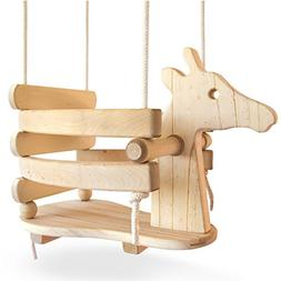 Ecotribe Wooden Giraffe Toddler Swing, Varnished Baby Swing