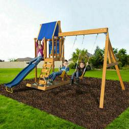 Wooden Swing Set Kids Slide Outdoor Backyard Playground Play
