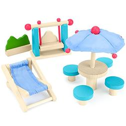 Wooden Wonders Playful Patio Set, Colorful Dollhouse Furnitu