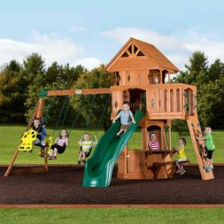 Woodland Cedar Wood Swingset Playground Slide Clibming Wall