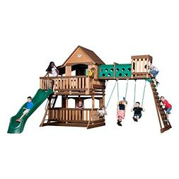 Backyard Discovery 1801080 Woodridge Elite Swing Set, Brown/